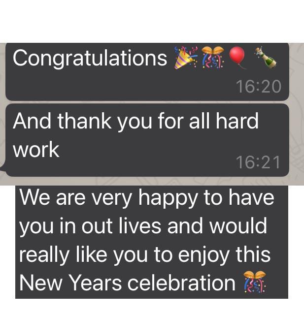 Congratulations, we are very happy